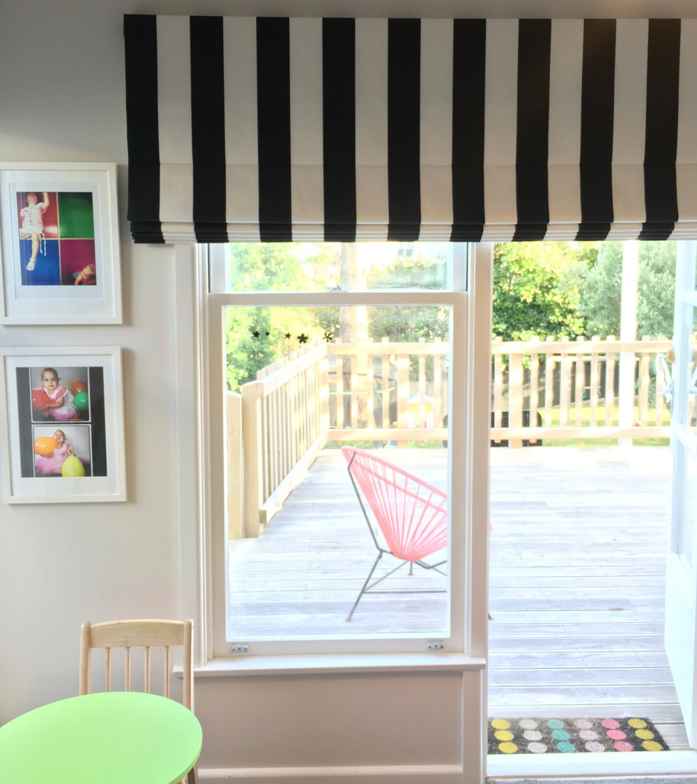 Bold Stripes work well in this fun playroom. Photo Dress My Nest