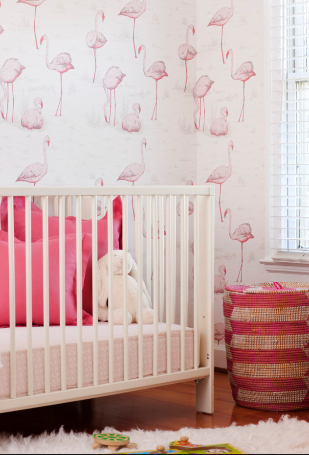 Cole & Sons Flamingos are so versatile - nursery, guest room, or bathroom!