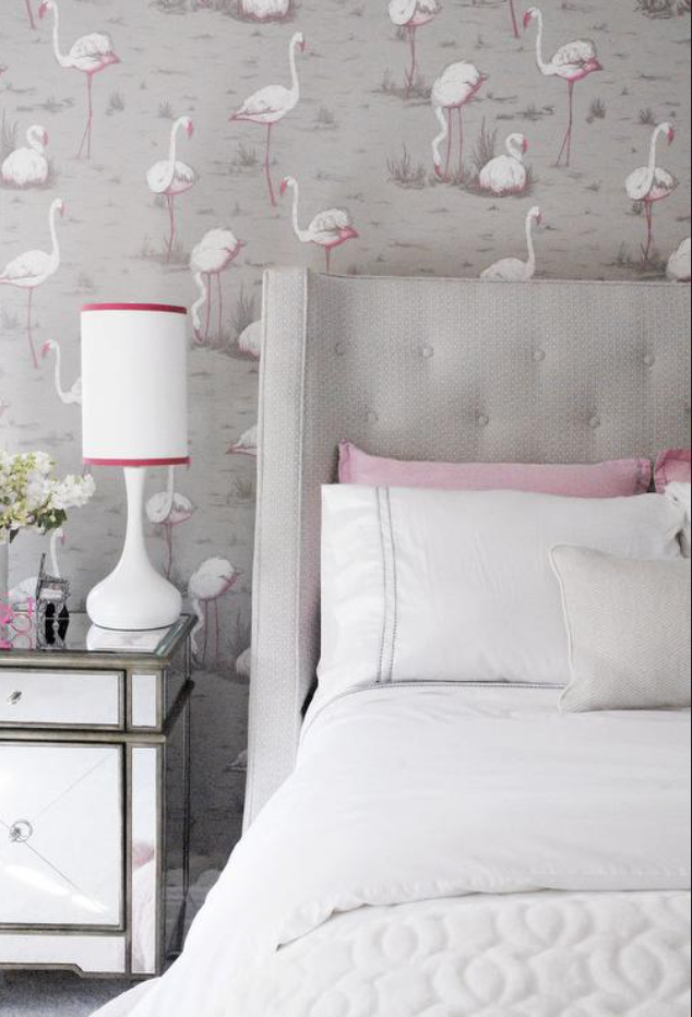 Another colour way of Cole & Sons Flamingos - so sophisticated in this guest room.