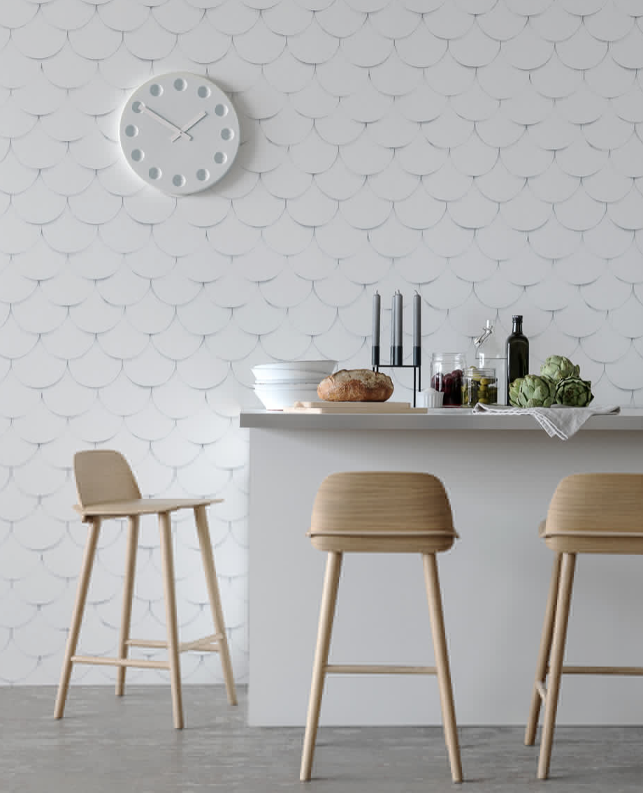 The latest range from Swedish based company Eco is mindblowingly beautiful - very subtle and delicate with prints from this gorgeous petal design to the look of woven paper and overlaid tiles.  Stunning