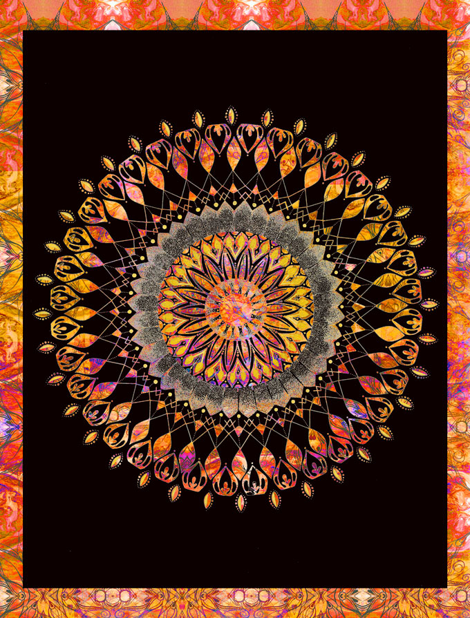 Hand Drawn Mandala, Then Manipulated With The Magic Of Computer Software. Prints Are In Action