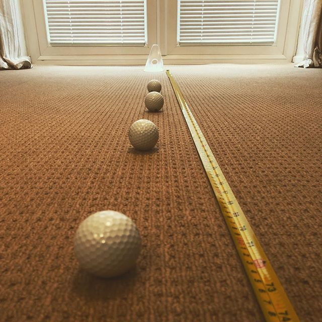With snow still on the ground outside it is time for some indoor practice from 3-6ft using @puttoutgolf #puttout #golf #instagolf #putting #putter #sinkmoreputts