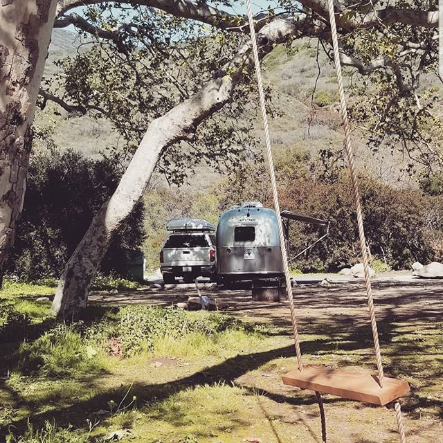 Swing life away! #airstream #bambi #roamandboard #camping #gooutside #goroam #swing #malibu #leocarrillo #silverbeauty #glamping #california #101 #pch #socal #beachlife