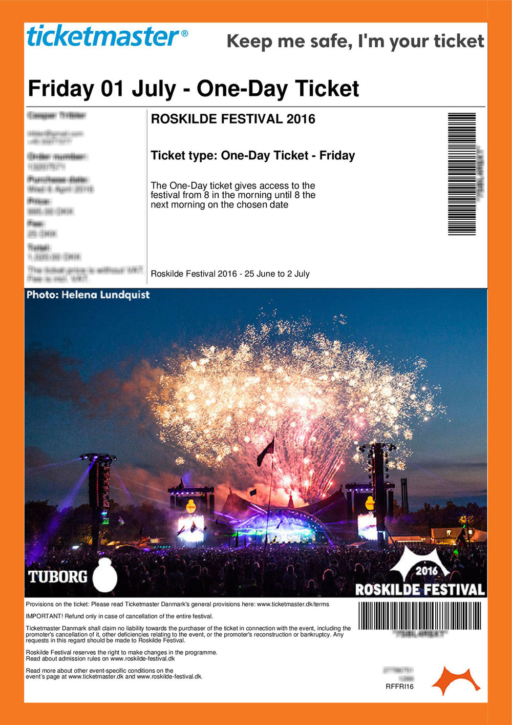 Roskilde Festival 2016 Friday ticket