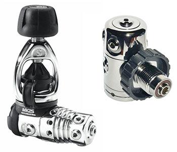 Yoke valve on the left, DIN on the right.