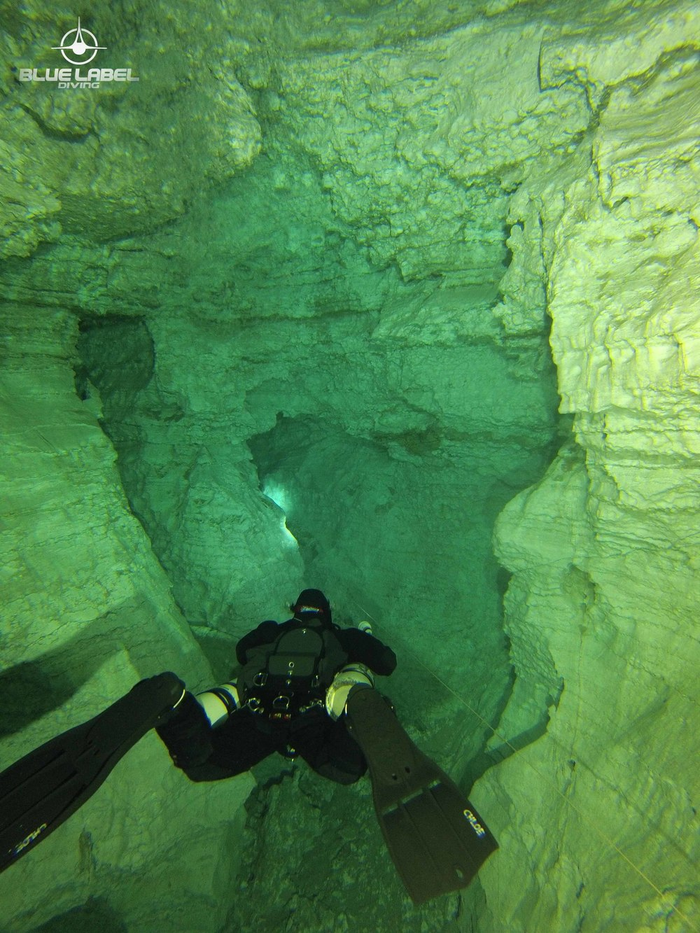 My jet fins in action at Orda Cave, Russia. Photo by Ben Reymenants of Blue Label Diving