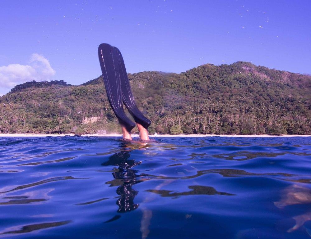 Petr's fins in Binucot Bay