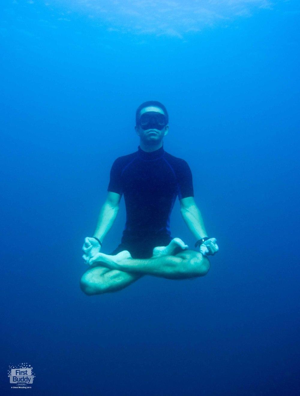 Jan practising his lotus position at 10m