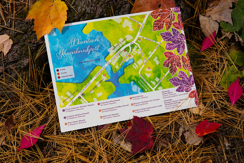Hari + Mike, September Wedding in Kennebunkport — Custom Map of Local Area