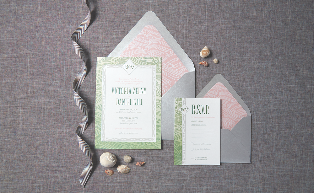 Seacoast Kennebunkport, Maine Wedding Invitation Suite