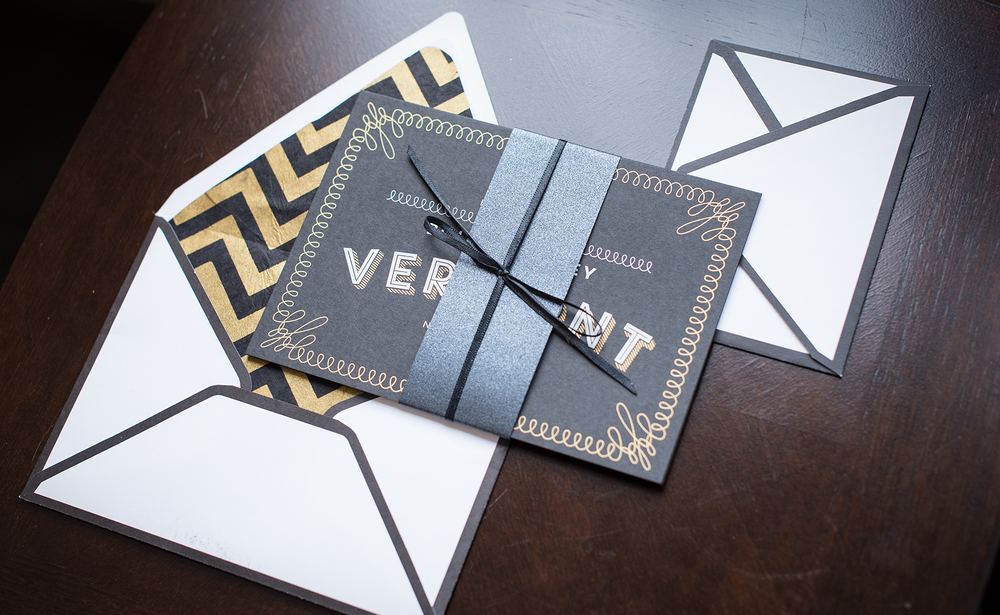 Lauren + Derek's New Year's Eve Wedding Invitation Suite