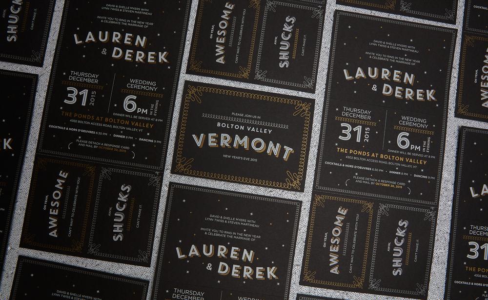 Lauren + Dereku0027s New Yearu0027s Eve Wedding Invitation Suite
