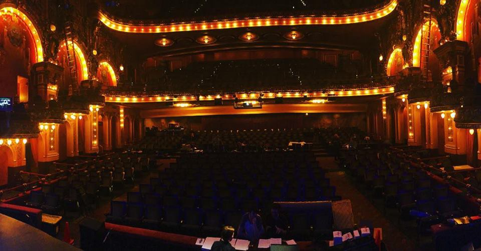 The view from the stage of the Cutler Majestic Theatre in downtown Boston.