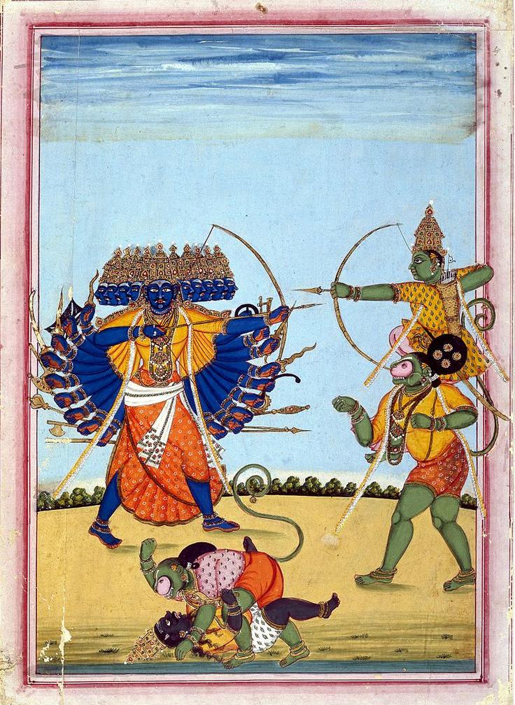 Rama kjemper sammen apeguden Hanuman mot demonen Ravana.