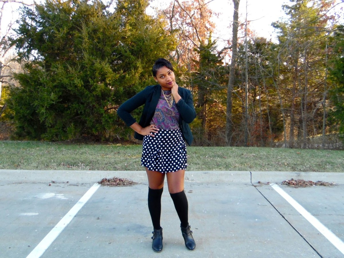 Learn how to style paisley and polka dots for the winter! Cute fashion advice on JasmineDiane.com!