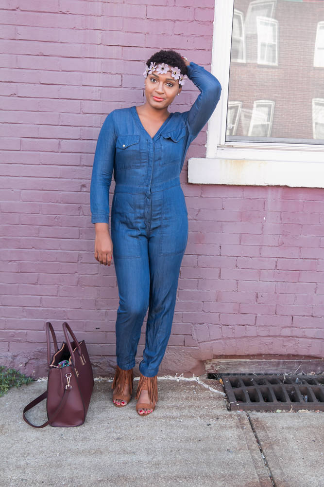 Denim Jumpsuit + Fringe Wedge Sandals jasminediane.com