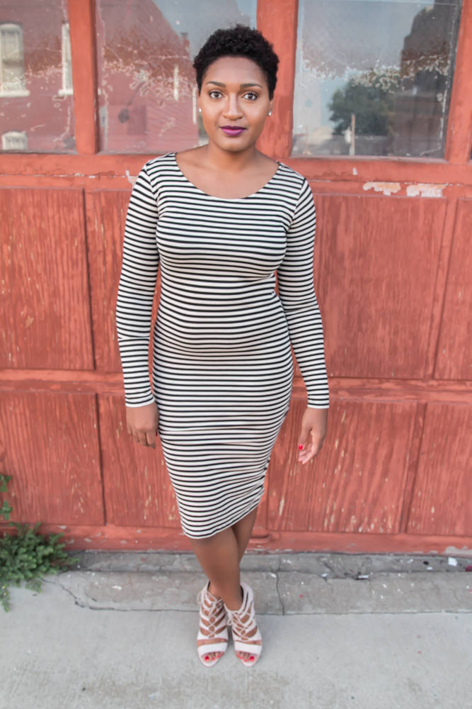 Stripe dress and strappy heels by jasmine cooper of jasminediane.com