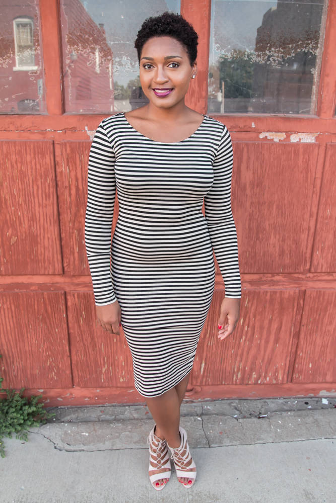 Stripe Dress + Strappy Heels by jasminediane.com