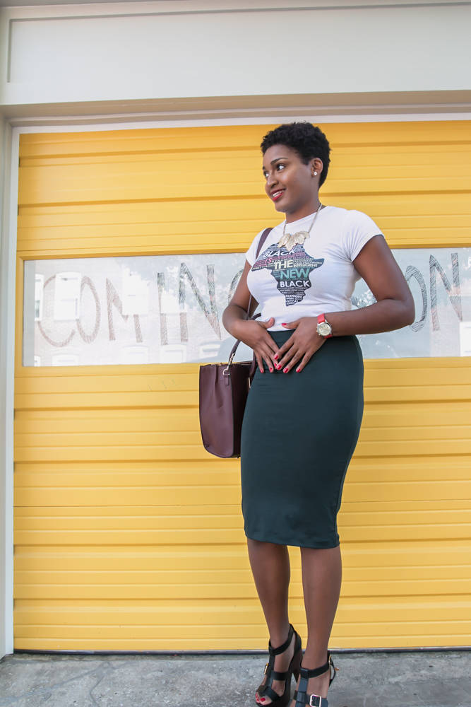 EyedentiteeTs Africa Tee + Green Pencil Skirt