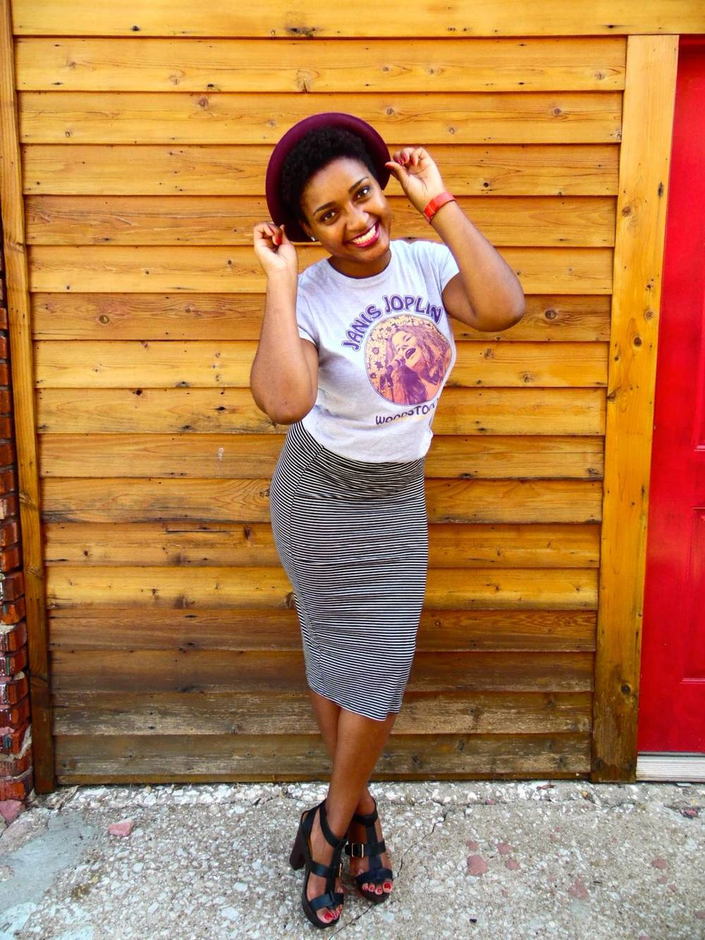 Jasmine Diane Woodstock T-shirt + Stripe Pencil Skirt