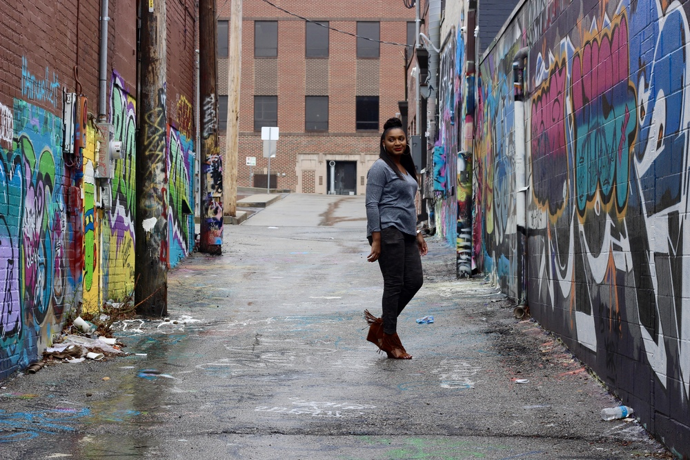 Gray GAP t-shirt with camo pants and brown fringe wedge sandals on jasminediane.com by jasmine coopoer.