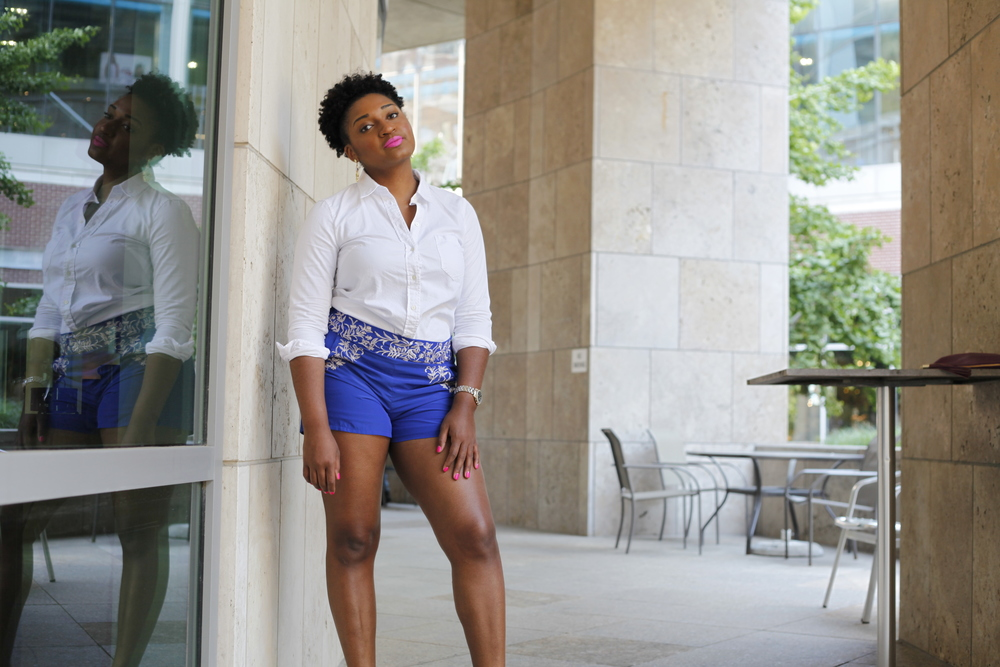 White Blouse + Blue Shorts + Strappy Heels by jasmine cooper of jasminediane.com