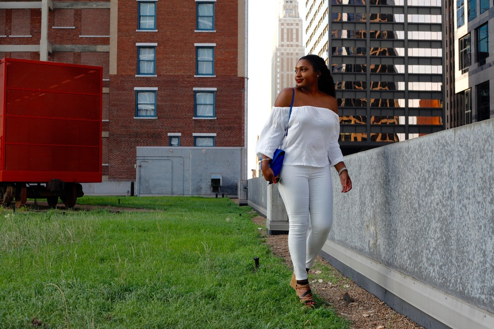 White Off the Shoulder Blouse + White Pants by jasmine cooper of jasminediane.com