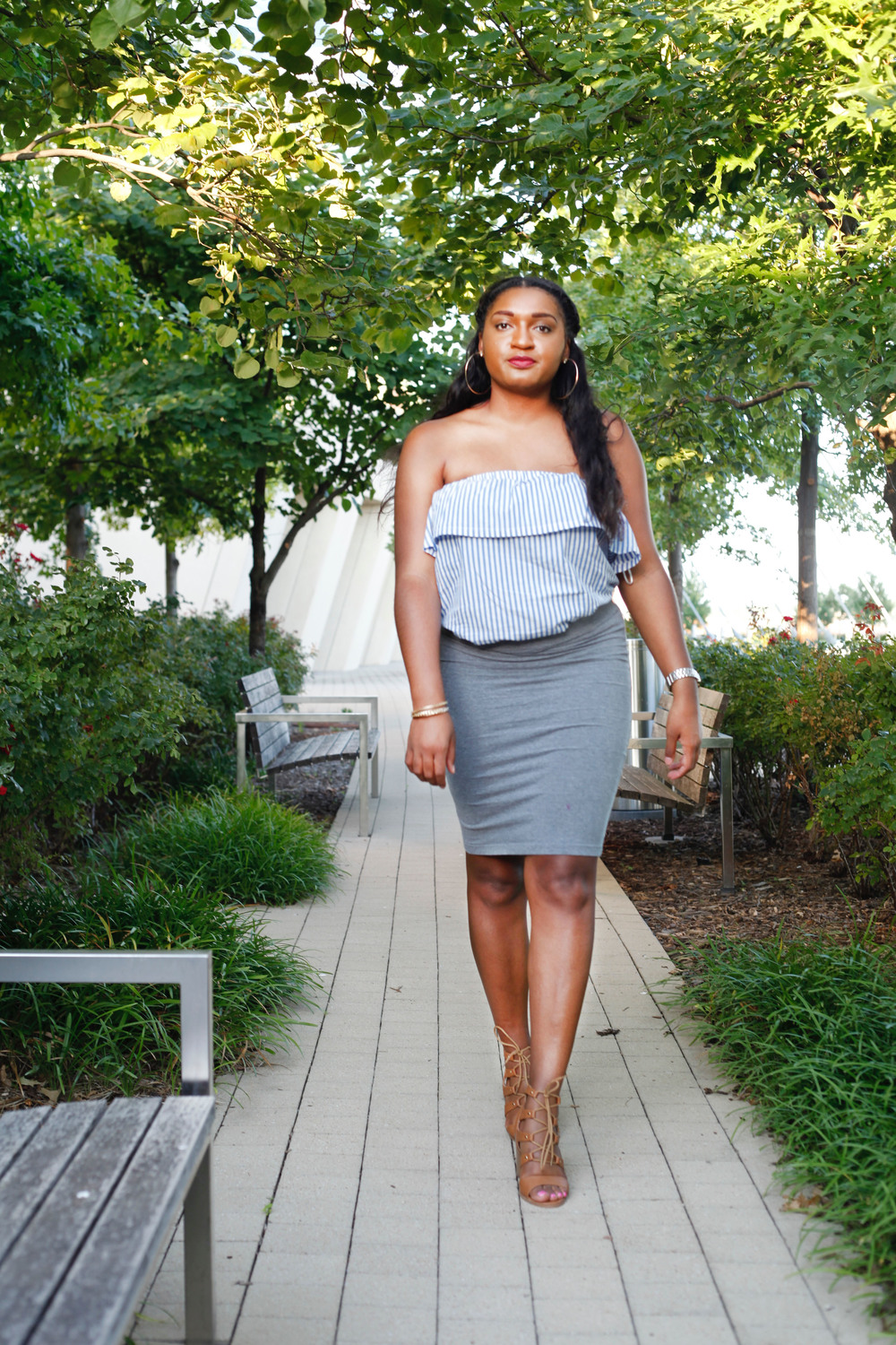 Baby Blue Stripe Top + Pencil Skirt by jasmine cooper of jasminediane.com