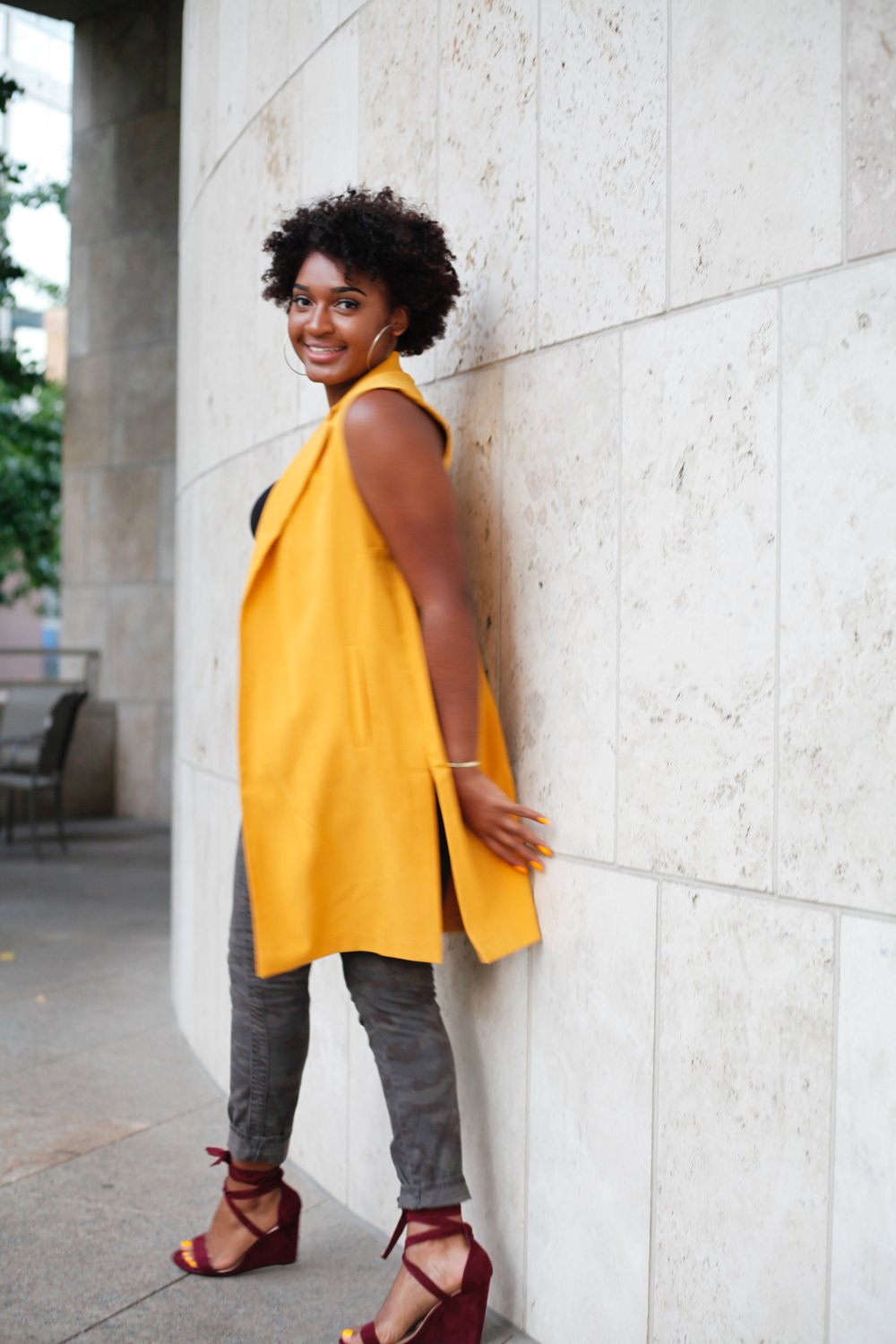 Mustard Vest + Wrap Wedge Sandals by jasmine cooper, blogger of jasminediane.com