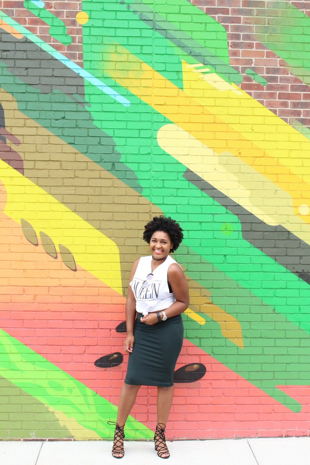 Queen Tee + Strappy Heels + Choker + Fro by jasmine cooper of jasminediane.com. Black bloggers in Kansas City with natural hair.