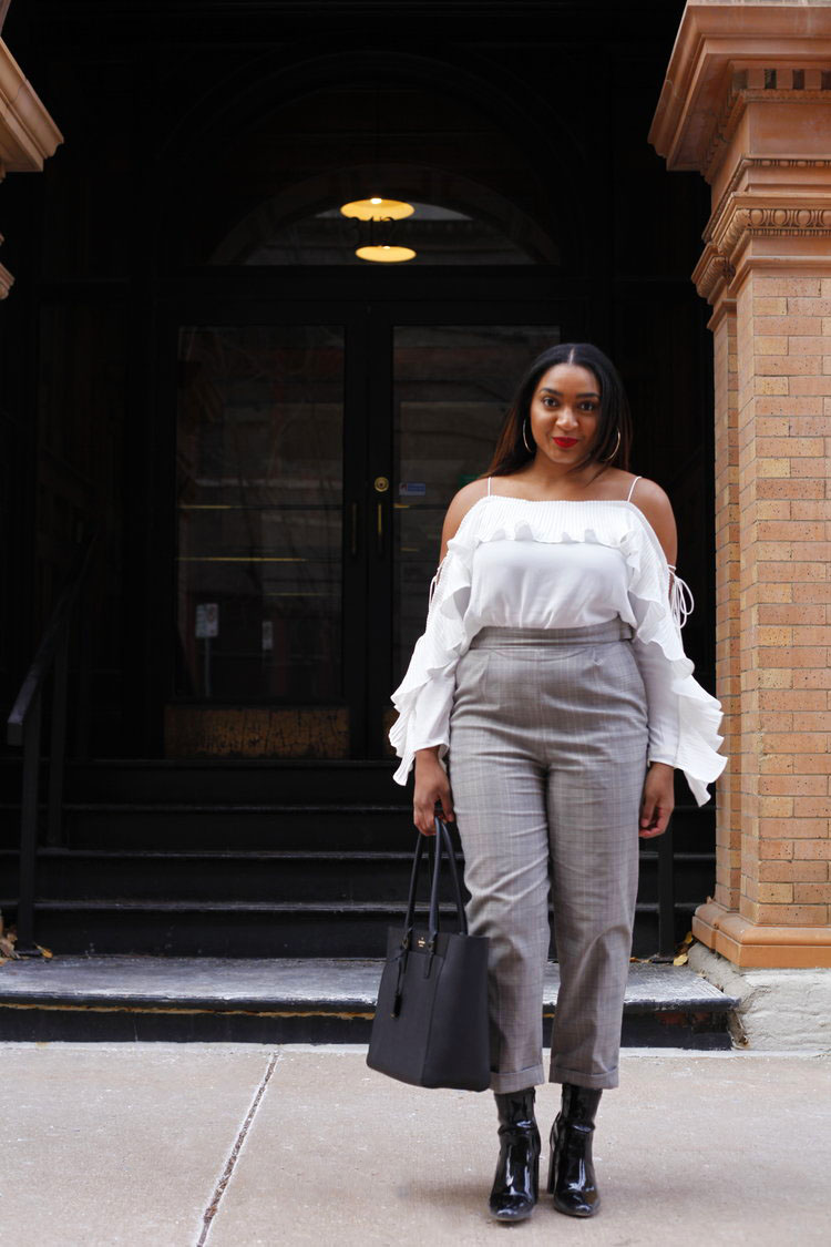 kansas city fashion blogger, jasmine diane, wearing high waisted plaid pants from H&M for Fall