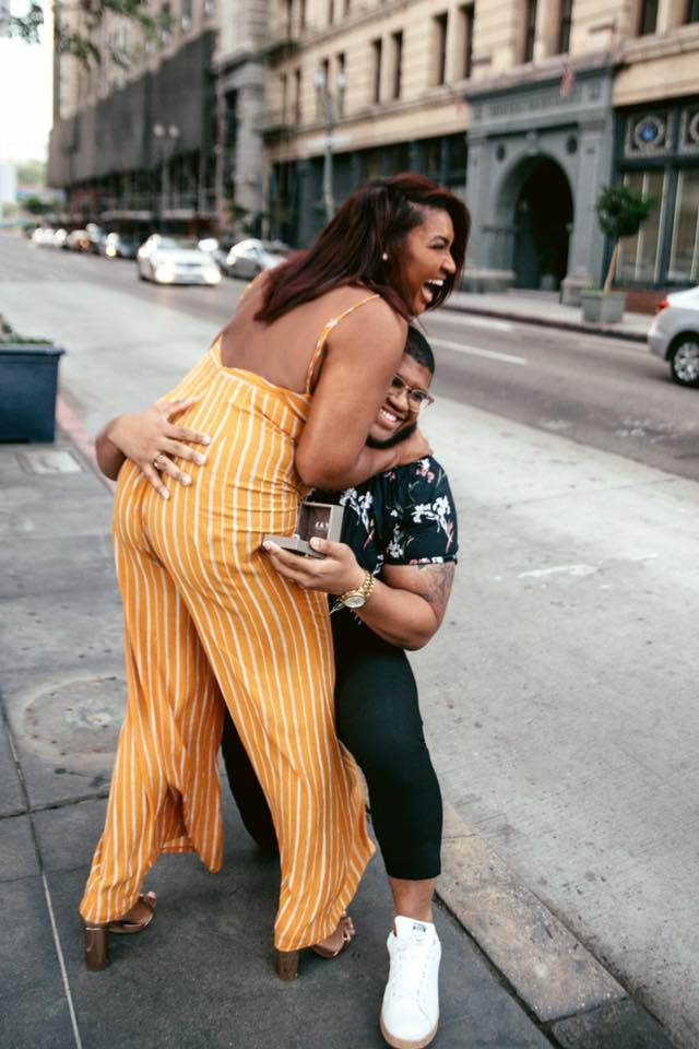 Jasmine Diane gets engaged to fashion photographer boyfriend, Steven Green, in downtown LA. Shot by Kaye McCoy.