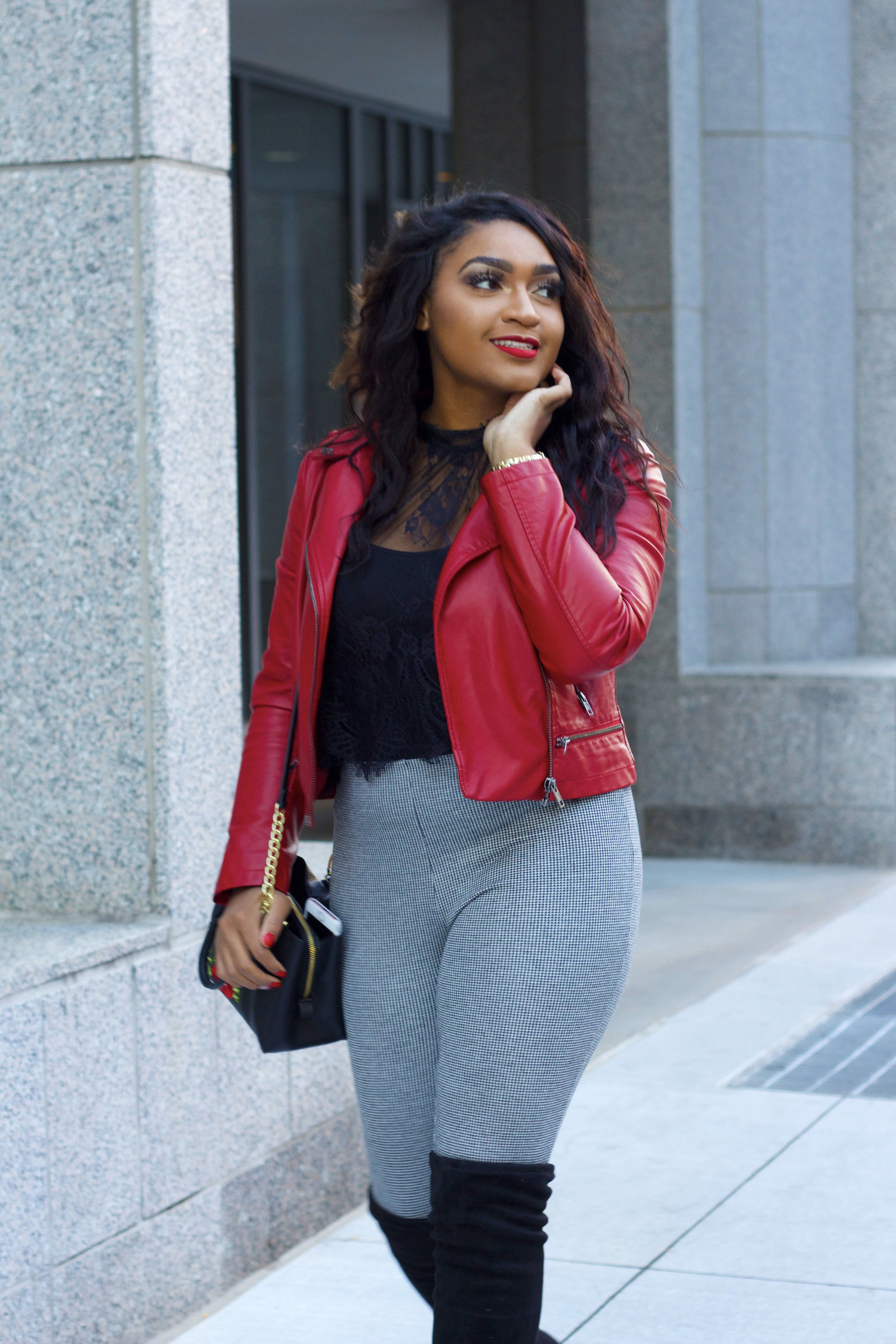 76e0bcda62c Black Knee High Boots x Red Leather Jacket — Jasmine Diane