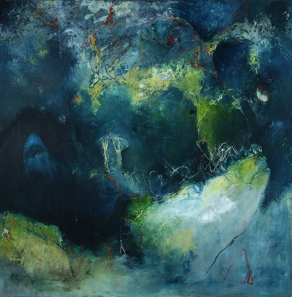 Omen Oil and cold wax on birch panel 48 x 48 inches