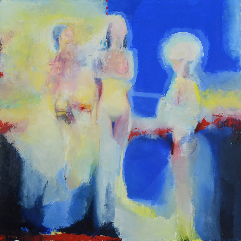 Twilight of the Idols Oil and cold wax in panel 40 x 40 inches