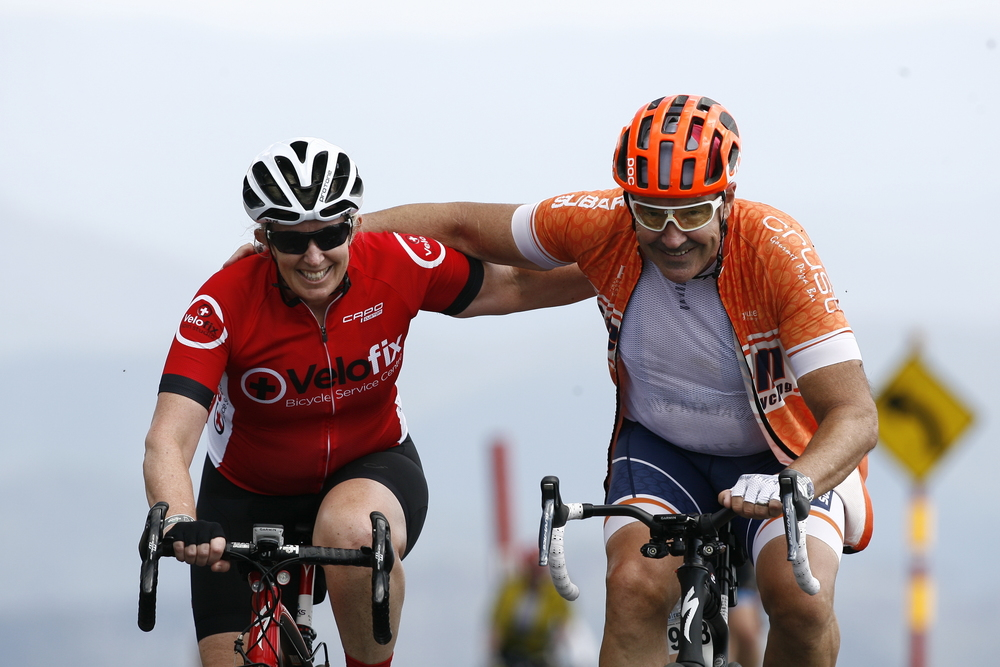 Rebecca at the top of Mt Hotham - a 30km climb!  Photo courtesy of SportsFoto