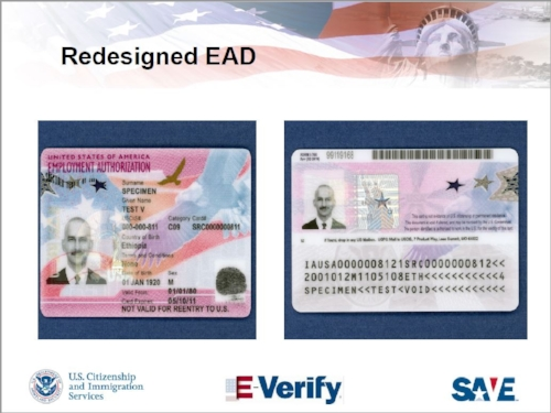"Photos taken from    U.S. Citizenship and Immigration Services' Webinar on ""Redesigned Permanent Resident Card and Employment Authorization Document"" (May 8, 2017)."