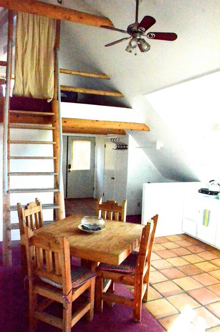 """The Eagle's Nest"" Sleeping Loft and kitchenette."