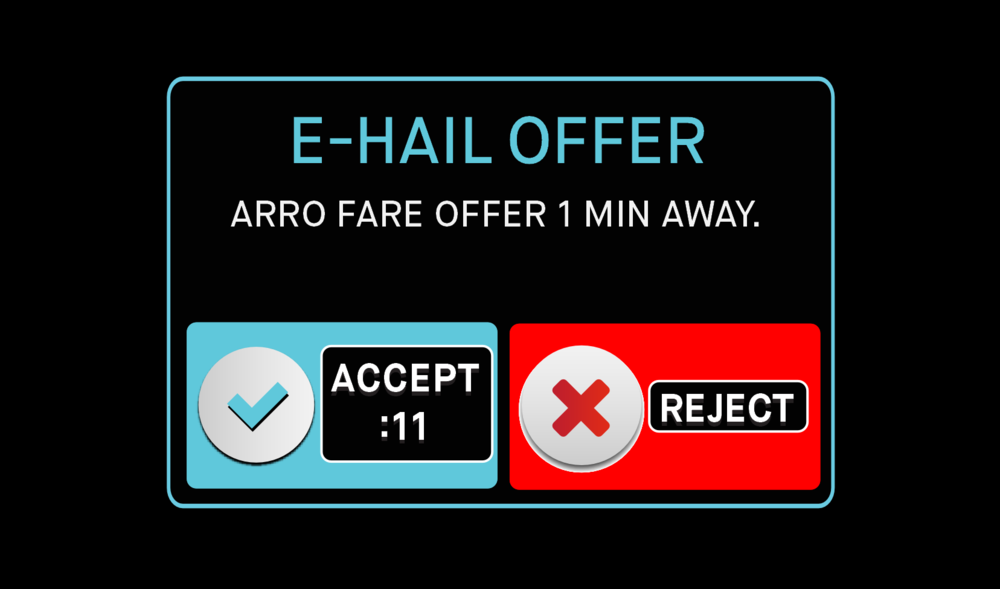 - If an E-Hail Offer appears, with accompanying alert sound, you will have 15 seconds to accept, reject or simply ignore the offer. A calculated ETA is shown which takes traffic and distance into consideration. The pick up street name is also shown.