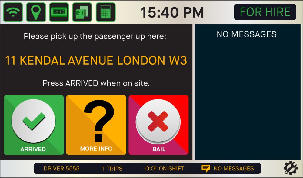 - If you are awarded the E-Hail you're given the location of the passenger. At this point, switch your meter to 'OFF', you have 18 seconds to do this. Press the GREEN TICK to notify your passenger you've arrived at the pick-up point. If you want more location information, click the YELLOW 'More Info/Map' button.