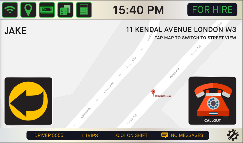- The system will display a map of the passenger's location (in this case it's our Kendal Avenue facility). You also have the option to tap the screen.