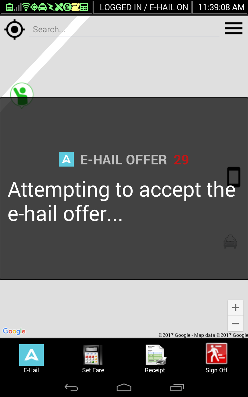 - Multiple drivers can accept the same offer. If you accept the offer the system will award the E-Hail to the most appropriate driver. If the job is awarded to you, turn your meter 'OFF'.