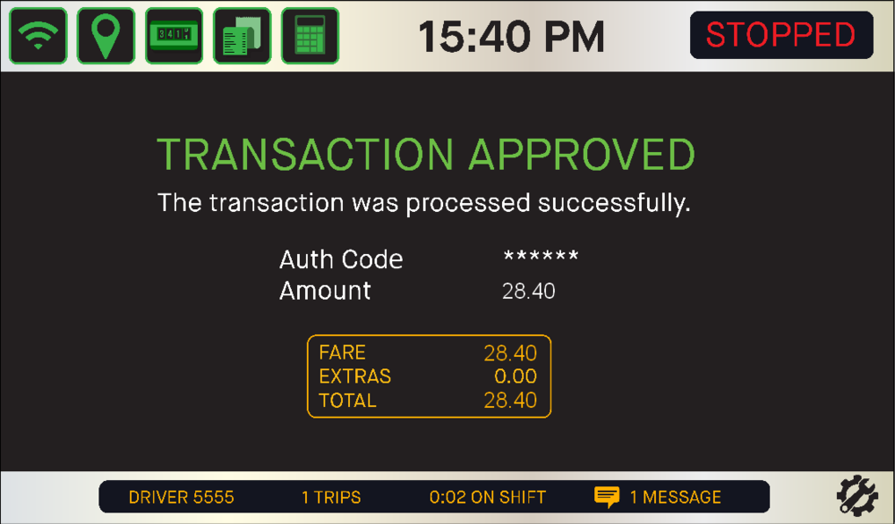 - The passenger will receive an emailed receipt. The in-vehicle system will print a receipt for you. In addition, your screen will indicate approval of the transaction.Clear the meter and you're ready for the next job.