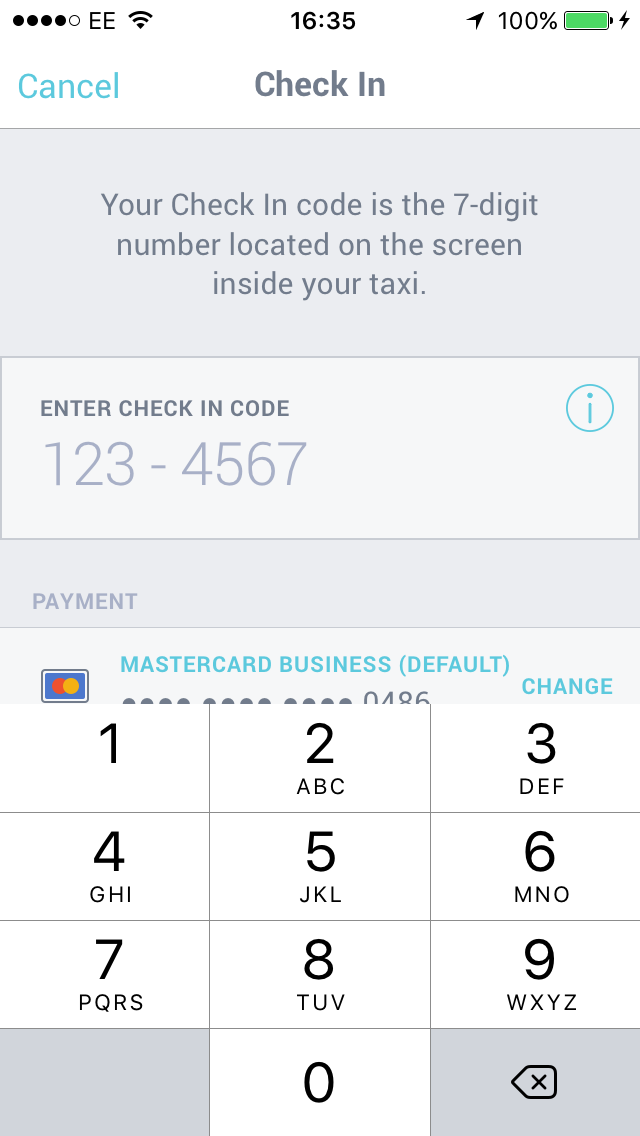 - If the passenger would like to pair and pay, tell them the pairing code displayed on your fixed screen or tablet as below.They can then enter this on their phone.