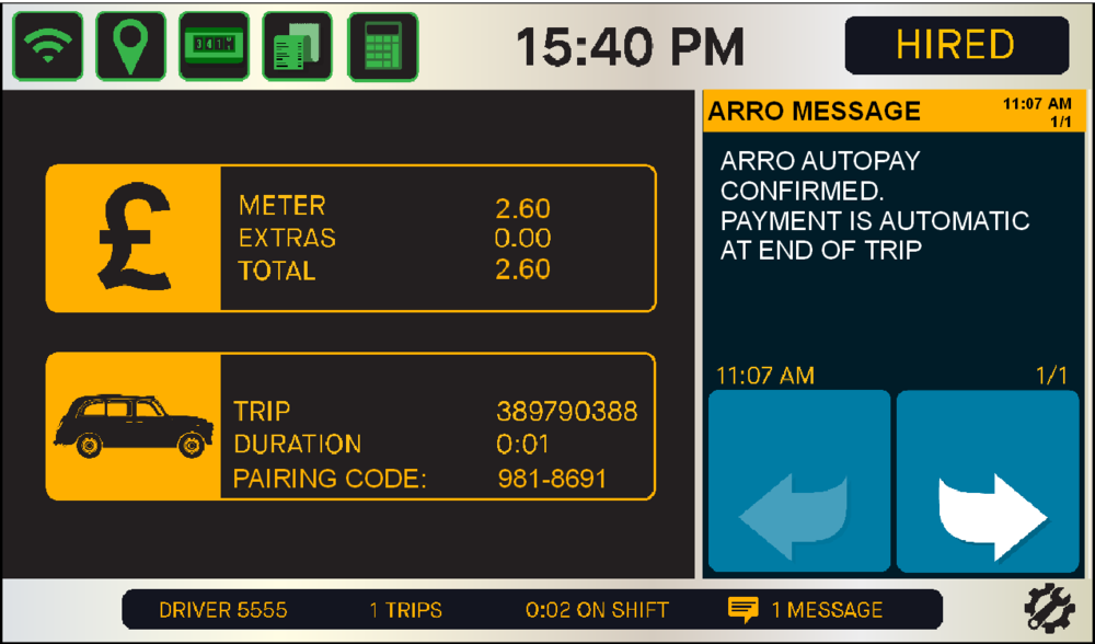 - Within seconds the pairing code is confirmed and the screen will display 'ARRO AUTOPAY CONFIRMED'. Continue with the journey, the passenger will be free to leave the cab when you arrive at their destination and you've stopped the meter. You will then see the transaction approved screen.