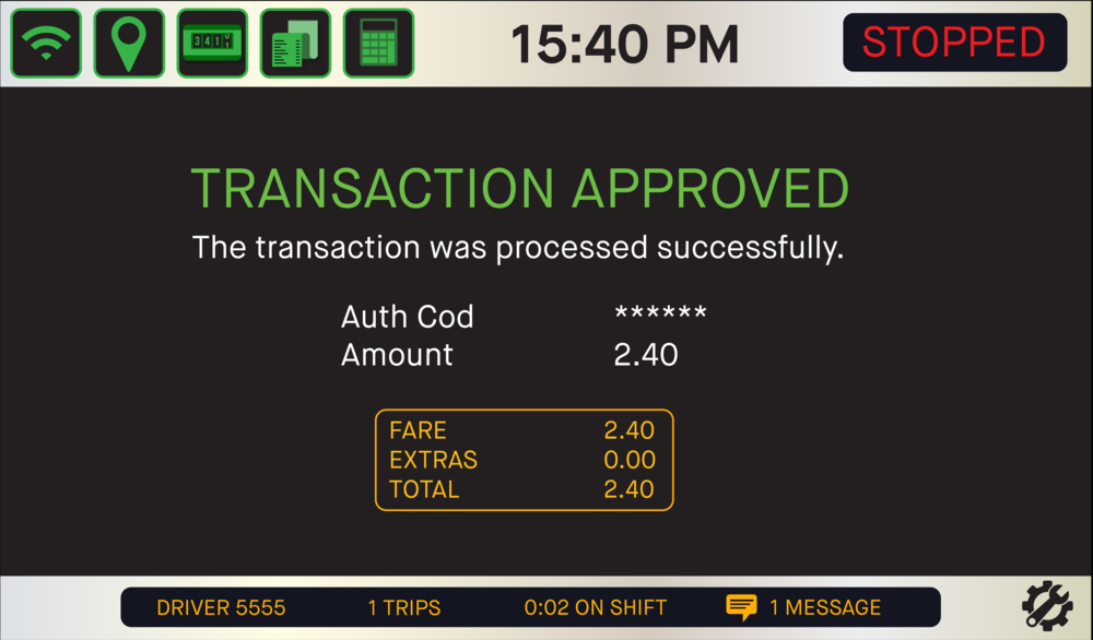 - Once you STOP the meter the screen will display the Transaction Approved screen. The driver receipt will print and the passenger will be emailed their copy.