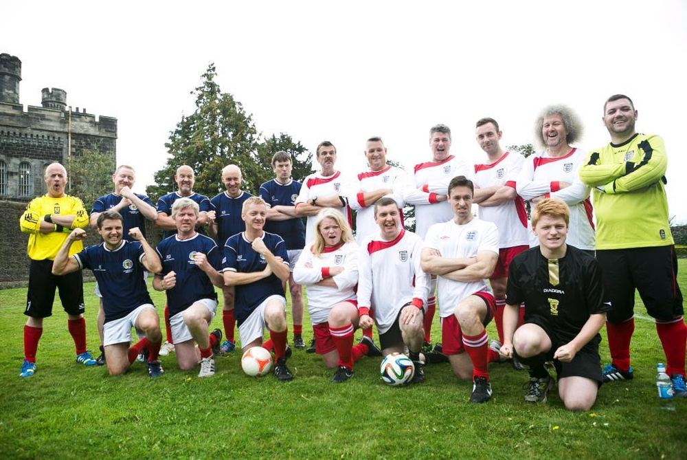 English vs. Scottish Crime Writers' match - you may recognize some familiar faces, such as Ian Rankin, Chris Brookmyre, and Mark Billingham in there with us!