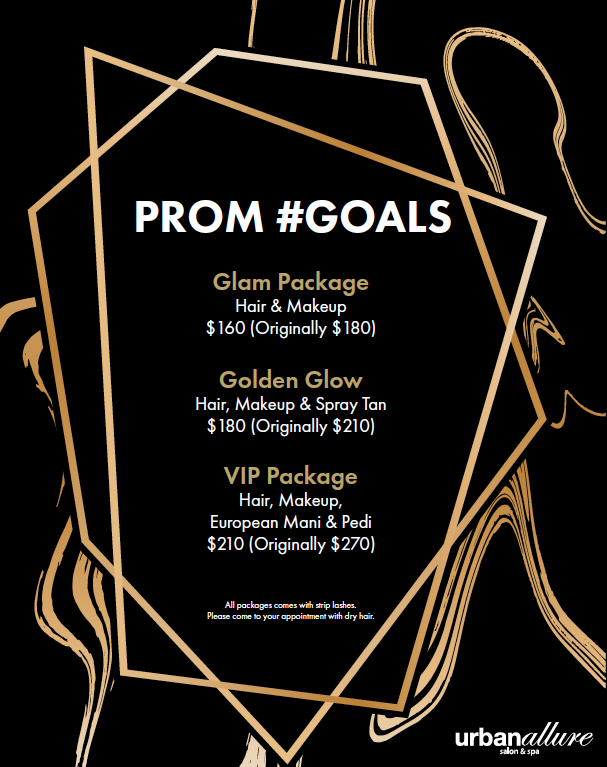"This year at Urban Allure Salon & Spa, we have  3 unique packages  available to help you look your very best on prom night. Simply get your hair & makeup done, or add on a spray tan and manicure too!   Before prom:  don't forget to make an appointment to get your eye browns shaped, a facial, hair extensions & a color treatment to get you ready for the big night!    Reserve your spot today - call 215.968.2720        PLEASE NOTE   : A credit card number must be taken when booking an appointment. We have a 24-hour cancellation policy where we require notification of any cancellation or rescheduling within 24 hours of the appointment time/date. Notification after the 24 hours or a ""no show"" will result in a charge for the service on the given credit card."