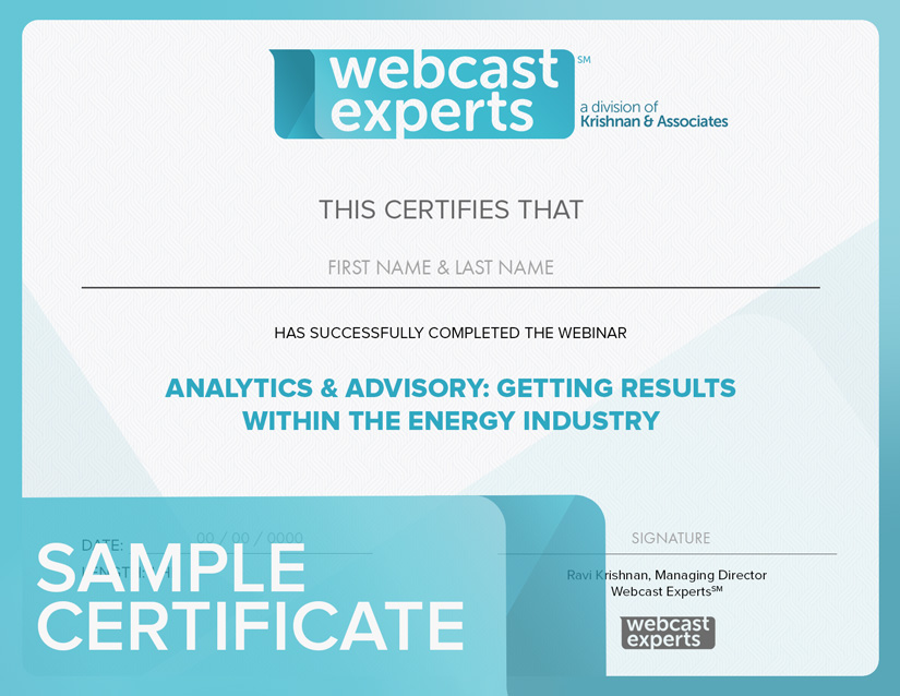 Certificates Of Completion For Energy Industry Webinars — Webinar