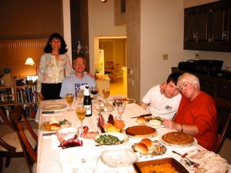 Photo: Bud, Selma, Michael (son), Grandma Oma, and Kristina (not pictured) celebrating Thanksgiving.